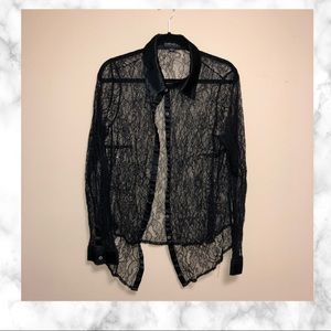 Forever21 Plus Lace & Sheer Button Down Blouse